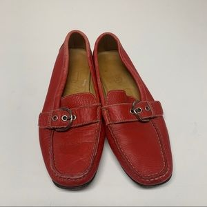 Coach Emery Red Leather Buckle Loafers Womens 7
